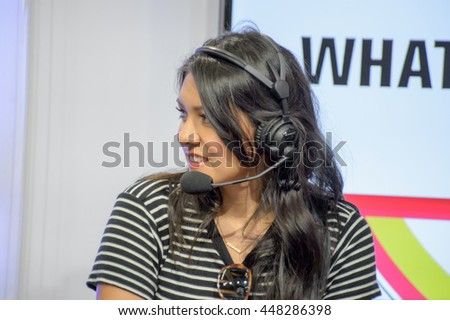 Anaheim, CA - June 25: Internet personality Nikki Limo answers fans questions during the 7th annual VidCon conference at the Anaheim Convention Center in Anaheim, California on June 23, 2016