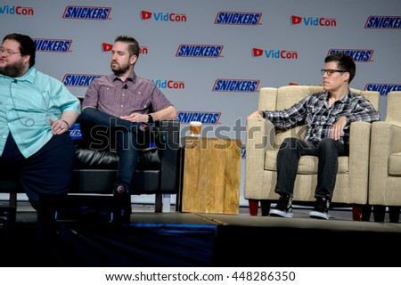 Anaheim, CA - June 24: (LR) Boogie2988, Tim Gettys and Lawerence Sonntag at the 7th annual VidCon conference at the Anaheim Convention Center in Anaheim, California on June 23, 2016