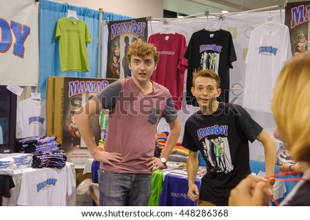Anaheim, CA - June 24: (LR) Michael Eric Reid and Dylan Riley Snyder cast from the movie mamaboy pose with fans at VidCon 2016 at the Anaheim Convention Center in Anaheim, California on June 23, 2016