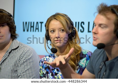 Anaheim, CA - June 25: (LR) Michael Gallagher, Taryn Southern and Steve Greene answer questions at Vidcon 2016 conference at the Anaheim Convention Center in Anaheim, California on June 23, 2016