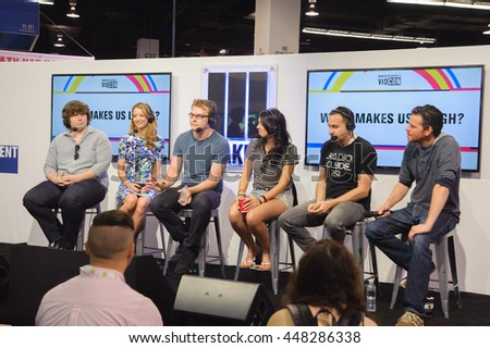 Anaheim, CA - June 25: (LR) Michael Gallagher, Taryn Southern, Steve Greene, Nikki Limo and Jason Horton answer questions at Vidcon 2016 at the Anaheim Conv CTR in Anaheim, California on June 23, 2016