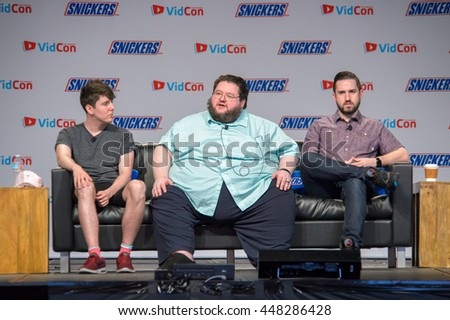 Anaheim, CA - June 24: (LR) Mynameschai, Boogie2988 and Tim Gettys and Lawerence Sonntag at the 7th annual VidCon conference at the Anaheim Convention Center in Anaheim, California on June 23, 2016