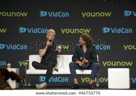 Anaheim, CA - June 23: Marcus Butler (L) answers questions from fans at the 7th annual VidCon conference at the Anaheim Convention Center in Anaheim, California on June 23, 2016