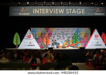 Anaheim, CA - June 24: Sawyer Harman (L) answers questions from fans at the 7th annual VidCon conference for YouTube creators at the Anaheim Convention Center in Anaheim, California on June 23, 2016