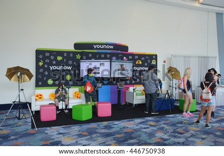 Anaheim, CA - June 23: The younow booth at the 7th annual VidCon at the Anaheim Convention Center in Anaheim, California on June 23, 2016