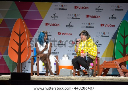 Anaheim, CA - June 24: Transgender Miles Jai answers questions at the 7th annual VidCon conference at the Anaheim Convention Center in Anaheim, California on June 23, 2016