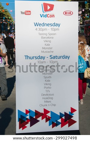 Anaheim, CA - June 22: VidCom's schedule for their 2015 conference for YouTube creators and fans at the Anaheim Convention Center in Anaheim, California on June 22, 2015 - stock photo