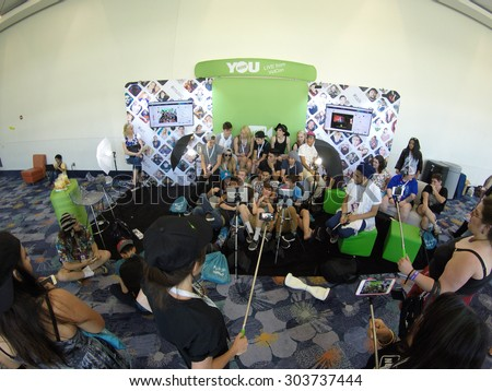 Anaheim, CA - June 23: YouNow broadcasts live from VidCon 2015 at the Anaheim Convention Center in Anaheim, California on June 23, 2015 - stock photo