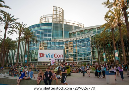Anaheim, CA - June 22: YouTube creators, industry experts and fans attend the 6th annual VidCon conference at the Anaheim Convention Center in Anaheim, California on June 22, 2015 - stock photo