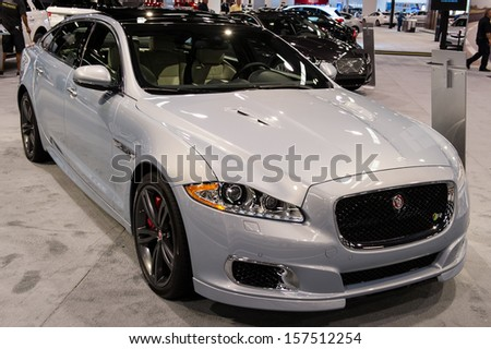 ANAHEIM, CA - OCTOBER 3: A Jaguar XJR on display at the Orange County International Auto Show in Anaheim, CA on October 3, 2013.