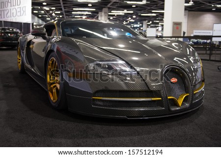 ANAHEIM, CA - OCTOBER 3: A Mansory Bugatti Veyron Vincero on display at the Orange County International Auto Show in Anaheim, CA on October 3, 2013. - stock photo