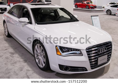 ANAHEIM, CA - OCTOBER 3: An Audi A8 on display at the Orange County International Auto Show in Anaheim, CA on October 3, 2013. - stock photo