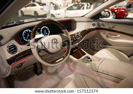 ANAHEIM, CA - OCTOBER 3: The interior of a Mercedes SL 550 on display at the Orange County International Auto Show in Anaheim, CA on October 3, 2013. - stock photo