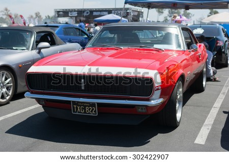 Anaheim, CA, USA - August 1, 2015: Ford Mustang car on display during Auto Enthusiast Day car show.