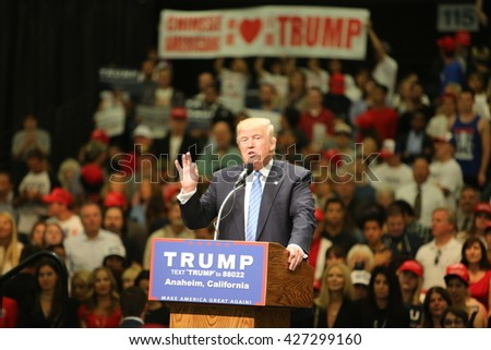 ANAHEIM CALIFORNIA, May 25, 2016: Republican Nominee presidential candidate Donald Trump speaks at campaign event in the Anaheim Stadium in Anaheim California to Thousands of fans and Supporters.  - stock photo