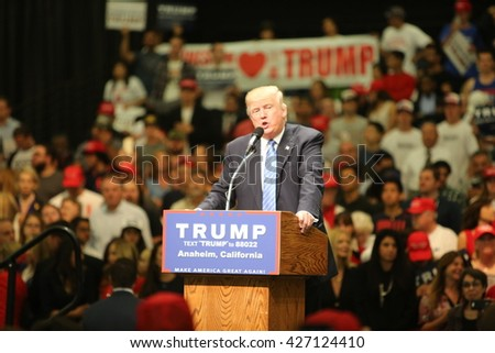 ANAHEIM CALIFORNIA, May 25, 2016: Republican presidential candidate Donald Trump speaks at campaign event in the Anaheim Stadium in Anaheim California to Thousands of fans and Supporters.   - stock photo