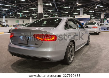 Anaheim - USA - October 15, 2015: Audi A4 during Orange County International Auto Show.