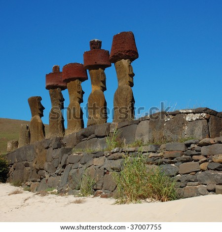 Anakena Beach Moai from Behind, Easter Island, Chile - stock photo