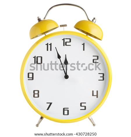 Analog alarm clock isolated on white background - stock photo