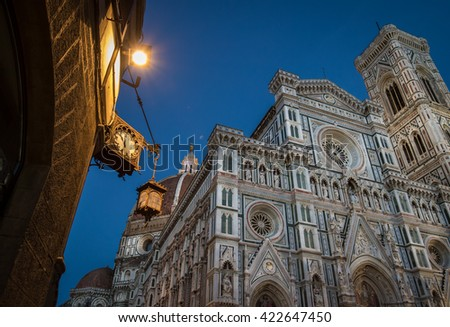 Analog Clock at Night near Florence Duomo - stock photo