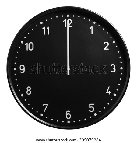 Analog clock showing twelve o'clock isolated on white background - stock photo