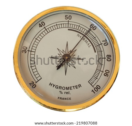Analog device used to measure humidity isolated on white - stock photo