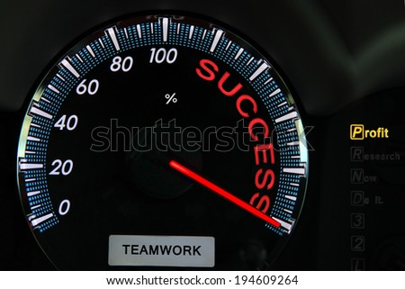 Analog gauge meter with words Success and text teamwork on its face, The concept symbolizing the drive and desire for personal and professional accomplishment in business or other  pursuits in life - stock photo