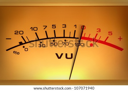 Analog measuring device with the needle in motion, studio closeup - stock photo