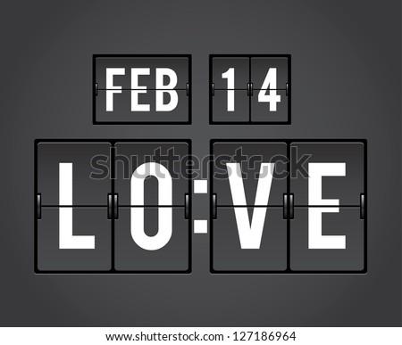 Analog mechanical countdown flip panel for Valentine's Day - stock photo