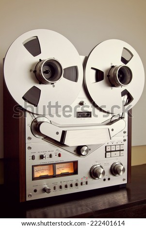 Analog Stereo Open Reel Tape Deck Recorder Vintage For Professional Sound Recording - stock photo