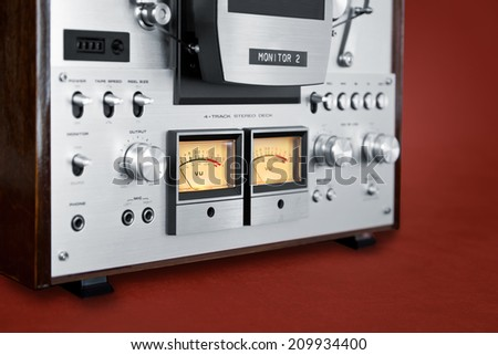 Analog Stereo Open Reel Tape Deck Recorder VU Meter Device Closeup - stock photo
