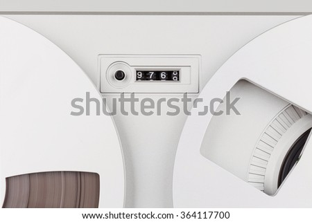 Analog Stereo Reel Tape Deck Recorder Player - stock photo