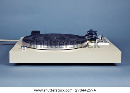 Analog Stereo Turntable Vinyl Blue Record Player Frontal View - stock photo