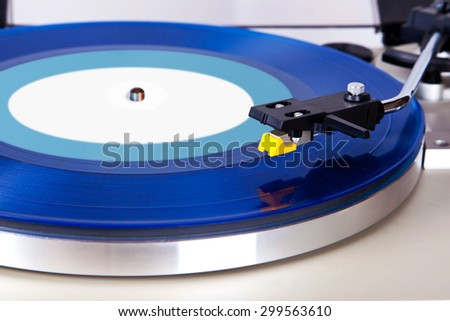 Analog Stereo Turntable Vinyl Blue Record Player Headshell Cartridge - stock photo