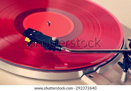 Analog Stereo Turntable Vinyl Record Player Tonearm - stock photo