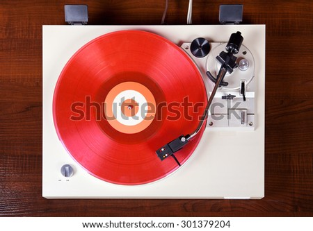 Analog Stereo Turntable Vinyl Record Player Top View - stock photo