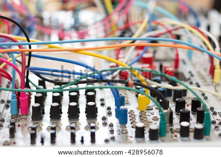 analog synthesizer - modular synth system  - stock photo