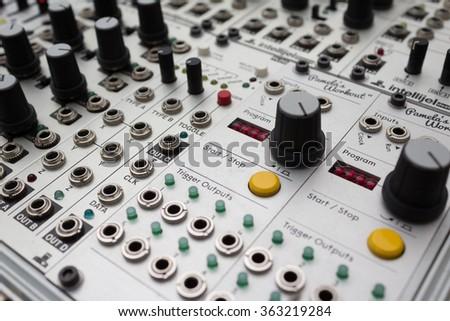 analog synthesizer - music equipment macro  - stock photo