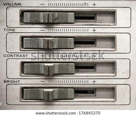 Analog tv control panel with volume,tone,contrast,brightness control slider - stock photo