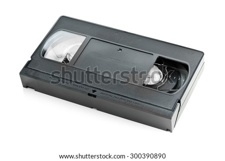Analog video home system (VHS) tape over white background - stock photo