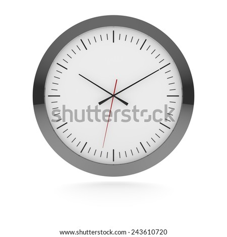 Analog wall clock with metal frame, hour and minute black hands and red second hand isolated over white.