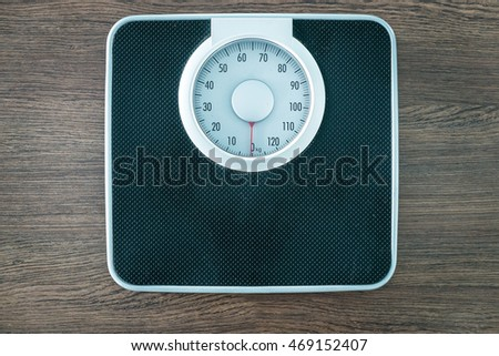 analog weight scale on dark wood background with caption text space