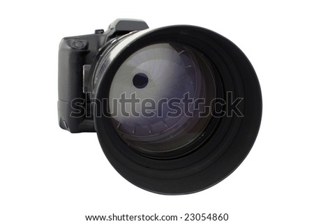 Analogical photo-camera with telephoto lens.