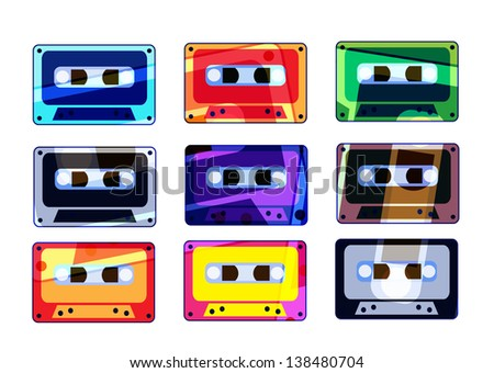 Analogue music recordable colorful cassettes - stock photo