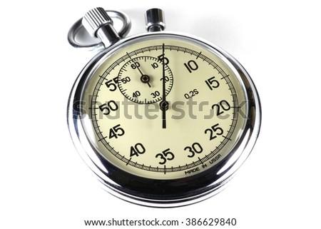 analogue stopwatch isolated on white background - stock photo