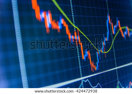 Analysing stock market data on a monitor. Shallow DOF. Financial graph on a computer monitor screen. Stock trade live. Stock market quotes on display. Live stock trading online.   - stock photo