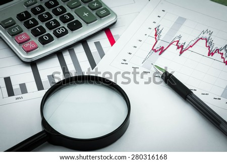 Analysis charts and graphs of sales -successful corporate business - stock photo