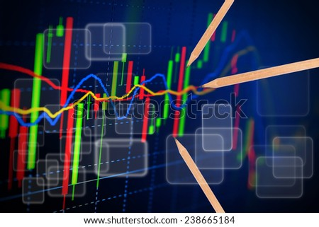 Analysis colorful stock chart on monitor. finance concept. - stock photo