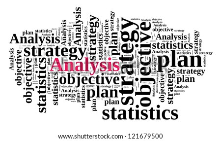 Analysis in word cloud - stock photo