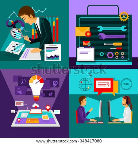 Analysis innovation. Online consulting. Set tools. Strategy solution, work support and advice, development technology, intelligence and information illustration. Raster version - stock photo